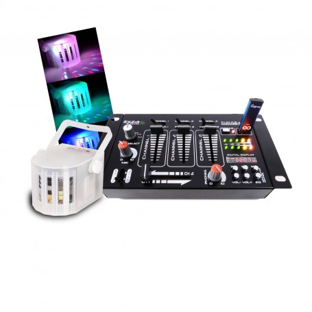 Mixer 4 Channel 7 Usb Bt Inputs Mini Derby Led Rgbw