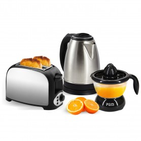 Set breakfast - Toaster 2 Slice stainless steel kettle + 1.8L + Juicers